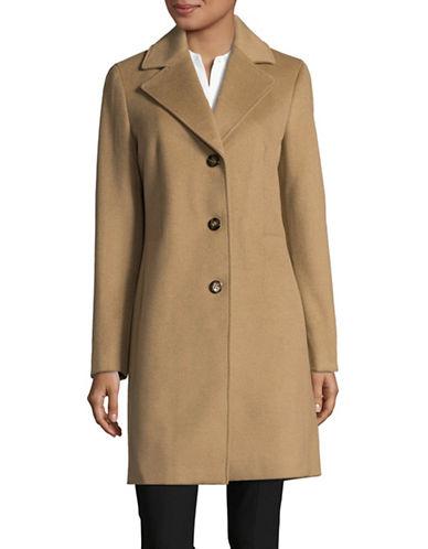 Calvin Klein Wool-Blend Reefer Coat-CAMEL-2