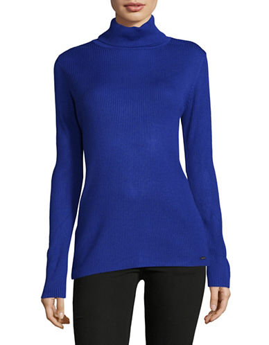 Calvin Klein Ribbed Turtleneck Top-BLUE-X-Large