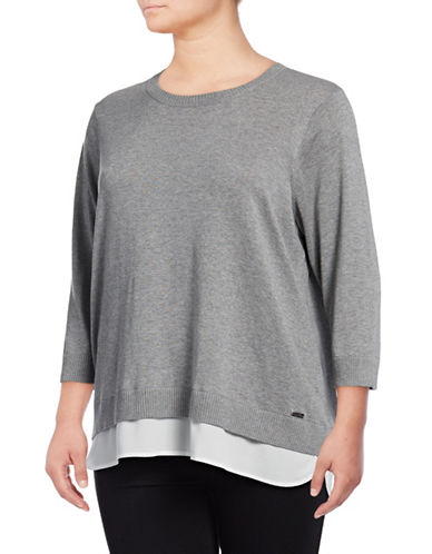 Calvin Klein Plus Plus Double-Hem Knit Sweater-HEATHER GRANITE-2X