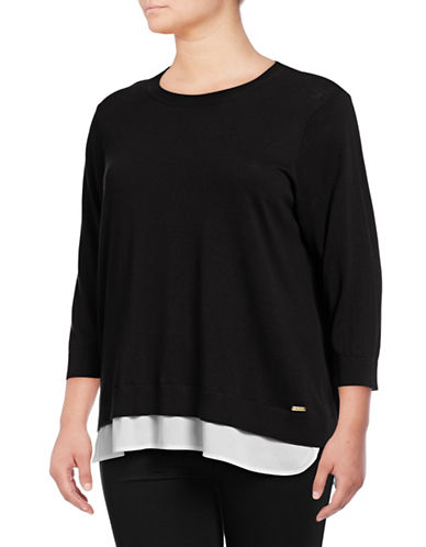 Calvin Klein Plus Plus Double-Hem Knit Sweater-BLACK-2X