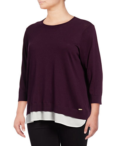 Calvin Klein Plus Plus Double-Hem Knit Sweater-AUBERGINE-1X