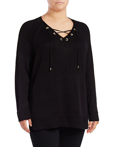 Calvin Klein Plus  Lace-Up V-Neck Sweater-BLACK-0X