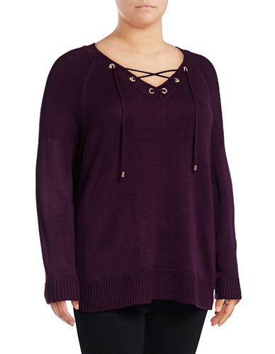 Calvin Klein Plus  Lace-Up V-Neck Sweater-PURPLE-0X
