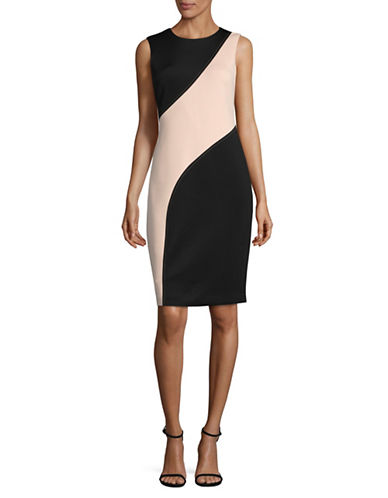 Calvin Klein Contour Panel Scuba Sheath Dress-BLACK-2