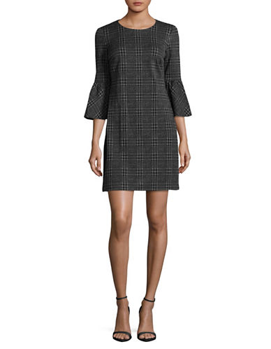 Calvin Klein Plaid Bell-Sleeve Sheath Dress-GREY-10