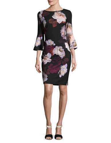 Calvin Klein Graphic Floral Print Shift Dress-RED MULTI-2
