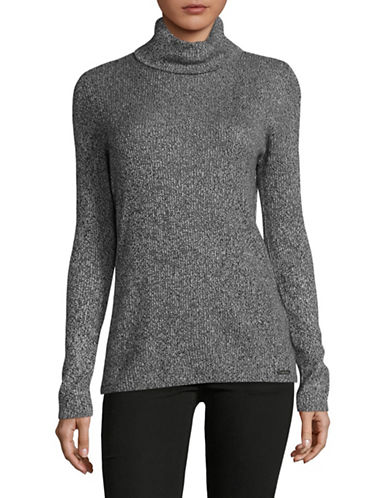 Calvin Klein Marled Turtleneck Top-BLACK/WHITE-Medium