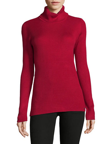 Calvin Klein Ribbed Turtleneck Top-RED-Medium