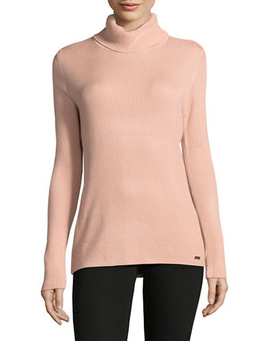 Calvin Klein Ribbed Turtleneck Top-PINK-X-Large