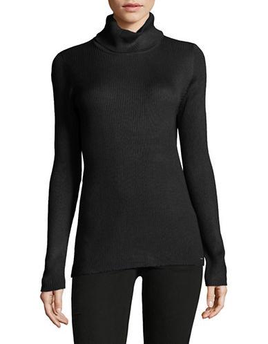 Calvin Klein Ribbed Turtleneck Top-BLACK-X-Large