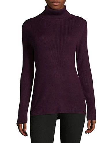 Calvin Klein Ribbed Turtleneck Top-PURPLE-Medium