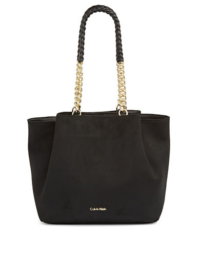 Calvin Klein Chained Faux Suede Tote-BLACK-One Size