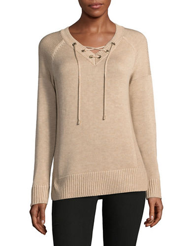 Calvin Klein Lace-Up Eyelet Sweater-BROWN-Large
