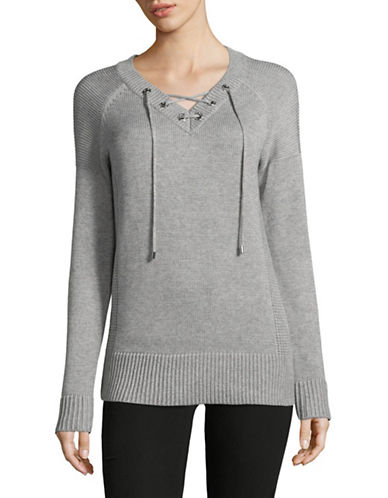 Calvin Klein Lace-Up Eyelet Sweater-GREY-Small