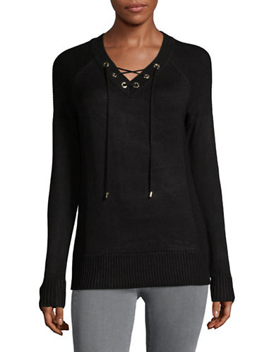 Calvin Klein Lace-Up Eyelet Sweater-BLACK-Medium