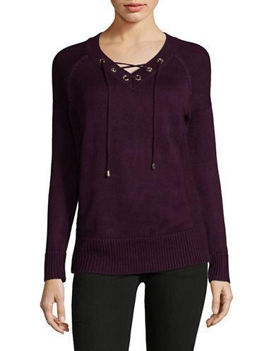 Calvin Klein Lace-Up Eyelet Sweater-PURPLE-Small