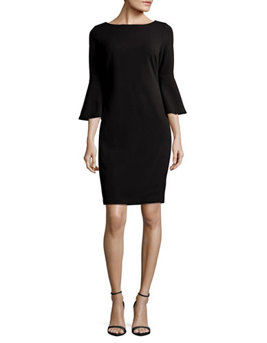 Calvin Klein Trumpet Sleeve Sheath Dress-BLACK-4