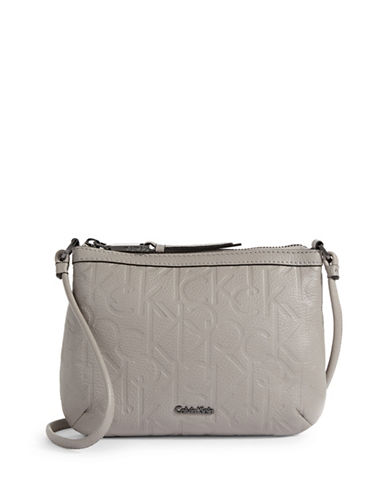 Calvin Klein Logo Embossed Crossbody Bag-GREY-One Size