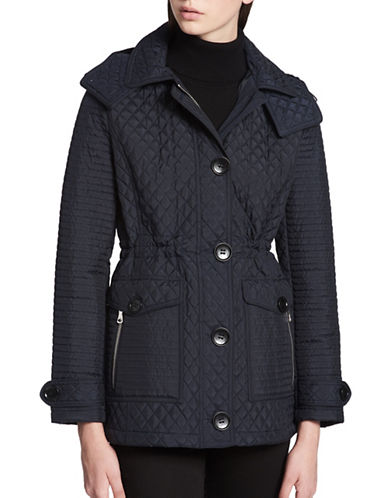 Calvin Klein Button Front Quilted Jacket-NAVY-Medium