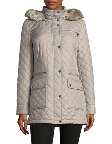 Calvin Klein Diamond Quilted Coat with Trimmed Hood-THISTLE-Small