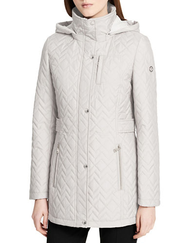 Calvin Klein Chevron Hooded Coat-CEMENT-X-Large