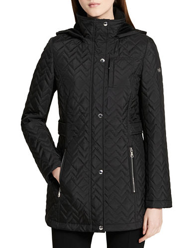 Calvin Klein Chevron Hooded Coat-BLACK-Medium