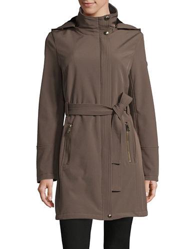 Calvin Klein Belted Water Resistant Coat-TAUPE-Small