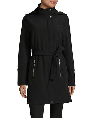 Calvin Klein Belted Water Resistant Coat-BLACK-X-Large