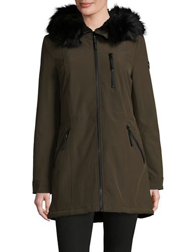 Calvin Klein Faux Fur Hood A-Line Coat-LODEN-Medium