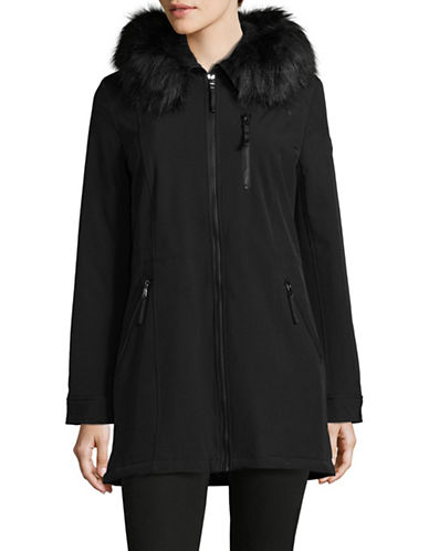 Calvin Klein Faux Fur Hood A-Line Coat-BLACK-X-Large