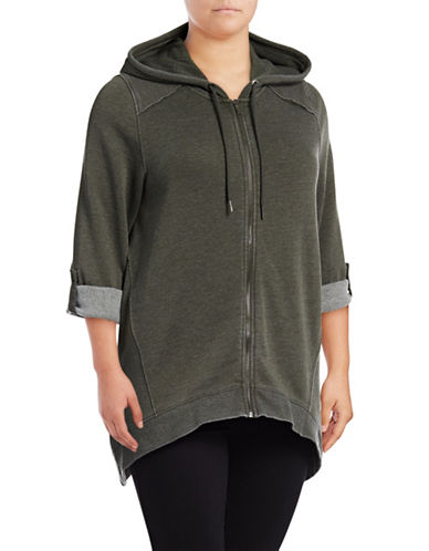 Calvin Klein Performance Plus Washed Sharkbite Hoodie-GREEN-1X 89603326_GREEN_1X