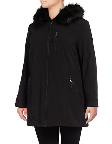 Calvin Klein Sherpa-Lined Anorak with Faux Fur-BLACK-2X