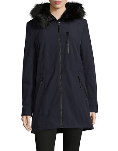 Calvin Klein Faux Fur Hood A-Line Coat-NAVY-Small