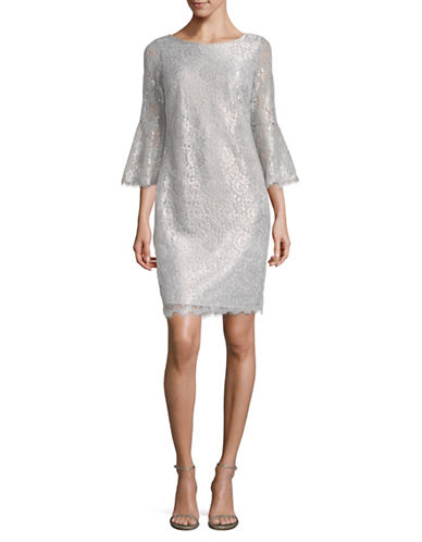 Calvin Klein Metallic Lace Sheath Dress-GREY-2