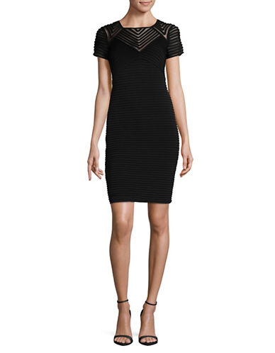 Calvin Klein Pin Tuck Sheath Dress-BLACK-12