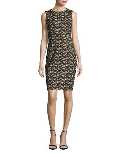 Calvin Klein Jacquard Sheath Dress-BLACK-8