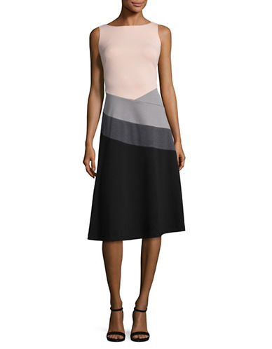 Calvin Klein Colourblocked A-Line Dress-BLUSH MULTI-4