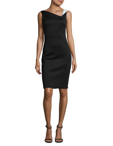 Calvin Klein Rolled-Shoulder Scuba Bodycon Dress-BLACK/CREAM-8
