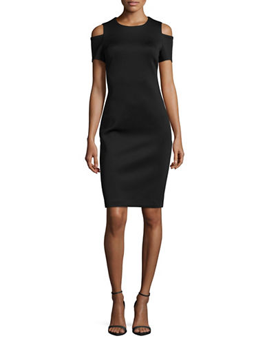 Calvin Klein Cold-Shoulder Sheath Dress-BLACK-14