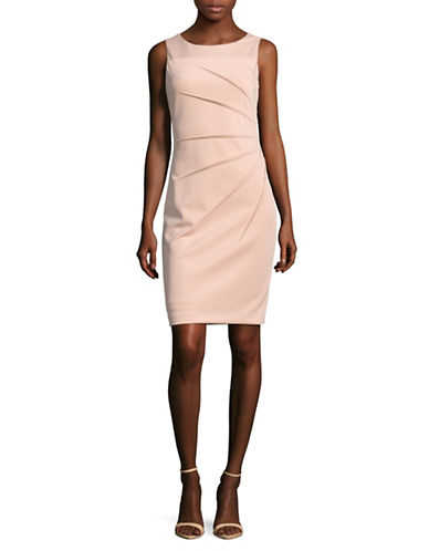 Calvin Klein Starburst Scuba Sheath Dress-PINK-2