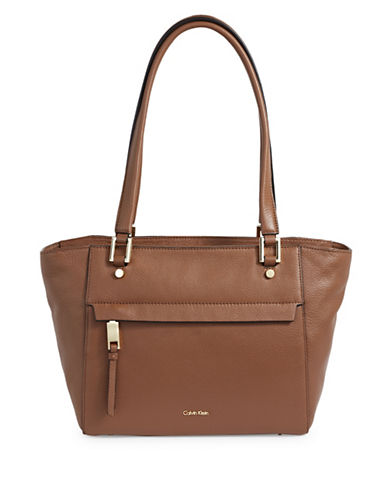 Calvin Klein Zip Pocket Pebble Tote-BROWN-One Size