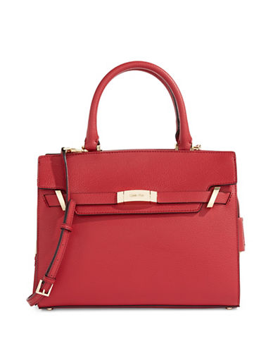 Calvin Klein Brooke Leather Tote-RED-One Size