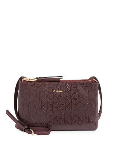 Calvin Klein Faux Patent Leather Monogram Crossbody Bag-BROWN-One Size
