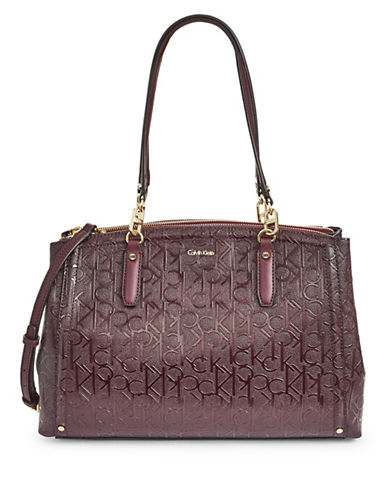 Calvin Klein Embossed Satchel-BROWN-One Size