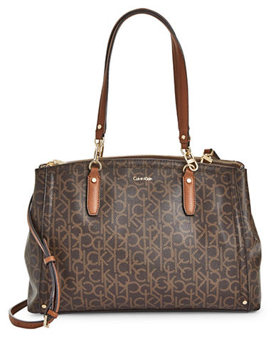 Calvin Klein Faux Leather Monogram Satchel-BROWN-One Size