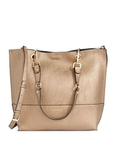 Calvin Klein Reversible Tote with Pouch-BRONZE-One Size