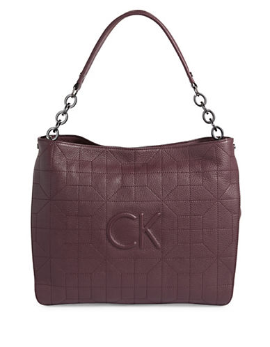 Calvin Klein Embossed Logo Quilted Hobo-PURPLE-One Size