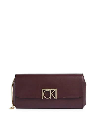 Calvin Klein Hardware Logo Flap Clutch-PURPLE-One Size