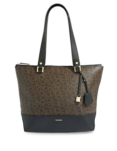 Calvin Klein Monogram Tote-BROWN-One Size