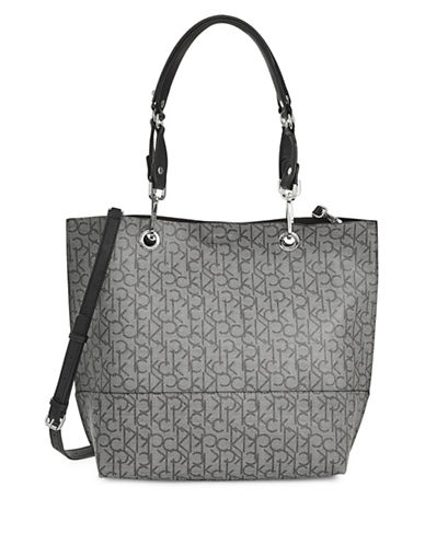 Calvin Klein Reversible Faux Leather Tote-GRAPHITE-One Size